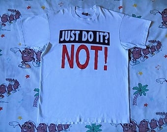 Vintage 80's Just Do It? Not! Anti-Sex Christian Church T shirt, size Medium Nike spoof weird bizarre