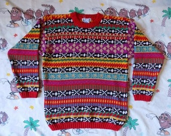 Vintage 90's Colorful Abstract Striped Sweater, size S/M by One Step Up