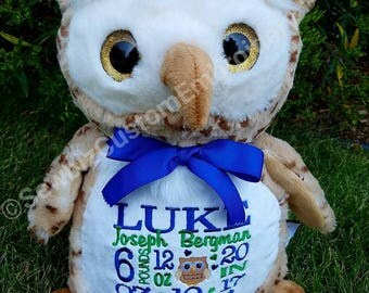 Oberton Owl Personalized Stuffed Animal Baby Gift  Birth Announcement stuffed animal
