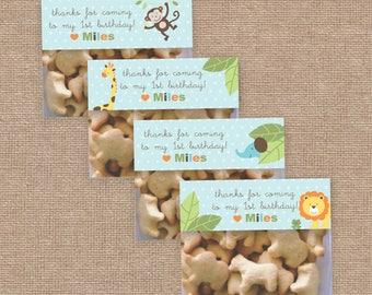 Boy Jungle Birthday Favor Bag Toppers, Monkey & Safari Animals Wild, DIY Printable