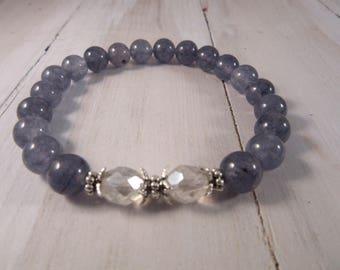 Beaded Stretch Bracelet with Czech Glass and Montana Blue Jade, Stack Bracelet, Boho Gift for Her, Bohemian Bracelet, Boho Chic Jewelry