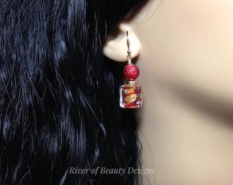 Red + Gold Murano Glass Earrings, Red Cube Earrings, Venetian Glass Dangle Earrings, 24K Gold, Gift Under 50, River of Beauty Designs