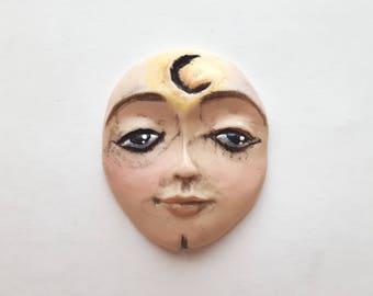 "CELESTIAL - Large Polymer Clay Cabochon,Flat back bead,1 3/4"" by 1 3/8"",handmade supply,flesh,beige,focal bead,no hole,art bead,moon"
