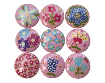 9 Custom Girls Flower Garden Pink Hand Painted Drawer Cabinet Pulls Knobs