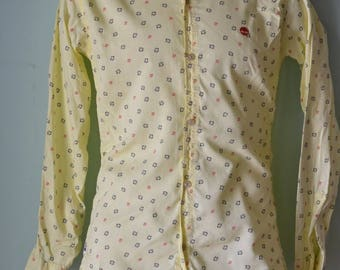 Vintage Mens shirt yellow long sleeve Neverhide size M
