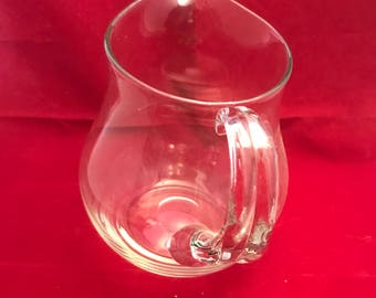 A026 Hand blown clear glass pitcher creamer,small water pitcher,small lemonade pitcher,small pitcher
