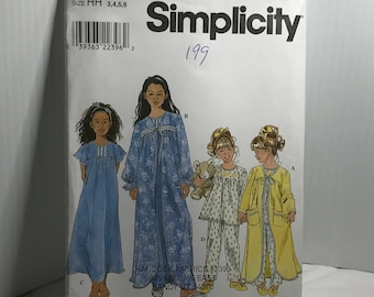 D240 Simplicity 8488, sewing pattern, girls nightgown, nightgown, pajamas, robe, size 3-6  uncut