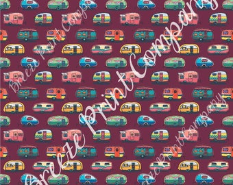 Camper craft  sheet - HTV or Adhesive Vinyl -  retro trailer pattern printed vinyl maroon background camping HTV18505