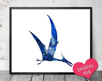 Watercolor Pteranodon, PRINTABLE Art, Pteranodon Art Print, Dinosaur Wall Art, Digital Download, Dinosaur Nursery Decor, Baby Boy Nursery