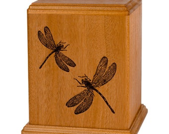 Mahogany Dragonflies Wood Cremation Urn