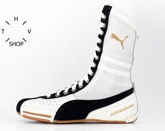 NOS Puma Schattenboxen hi tops boots / OG Deadstock Trainers Sneakers / White Black vintage kicks / Boxing Wrestling Combats MMA shoes