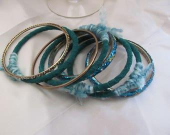 Bracelet Beautiful Stacking Bangle Textile Leather Bracelet 8 Piece Set - Green Gold (60)