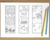 Under the Sea Bookmarks - A4 Printable Colouring Page, Bookmarks, PDF Download, Adult Colouring, Reading, Books