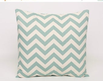 Summer Sale Village Blue and Natural Chevron Pillow Covers designed to fit 14, 16, 18, 20 or 22 inch inserts. Premier Prints ZigZag Pattern