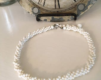 Vintage White Bead Twisted Choker