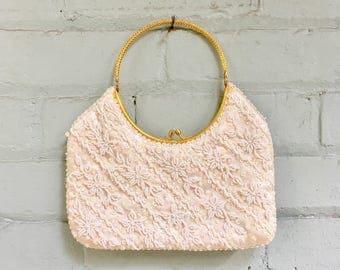 1960s white beaded clutch / 60s sequin evening bag / 1960s satin handbag  / gold top handle purse