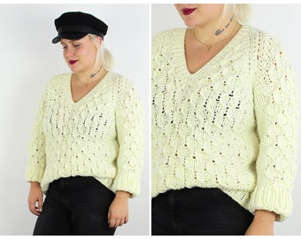 Vintage 1980's Cream White Chunky Knit Jumper UK 10 12 14 / S Small M Medium / Free Uk Shipping