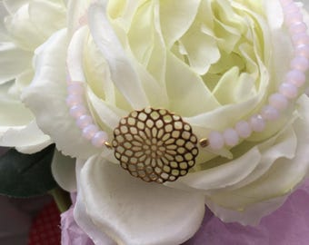 Bracelet in rose pink faceted glass bead and rose plated print 24kt Gold
