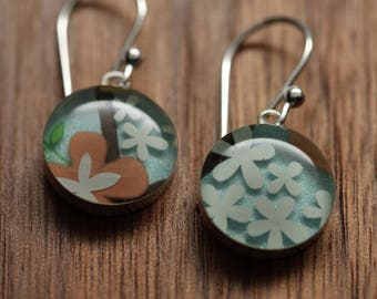 Spring bouquet earrings made from recycled Starbucks gift cards. sterling silver and resin.