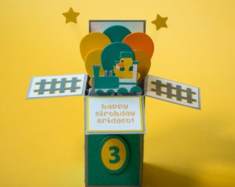Happy Birthday Pop Up Card - Customizable - Card in a Box - Kids Birthday Card - Train Birthday Card - Conductor Birthday