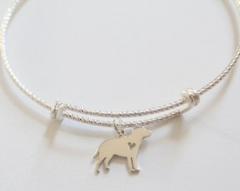 Sterling Silver Bracelet with Sterling Silver Labrador Retriever Charm, Labrador Retriever Bracelet, Labrador Charm Bracelet, Dog Bracelet