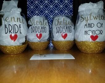 Stemless Bridesmaid Wine Glasses