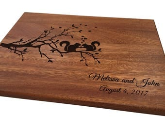 Personalized Cutting Board, Squirrels on Tree Branch, Custom Wedding Anniversary Gifts Engagement Gift New Home Cheese Board Chopping