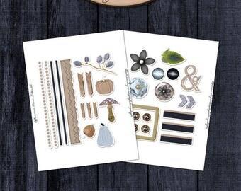 Daily Planner, Digital, Printable, Elements Sticker Sheet Set: Efflorescence