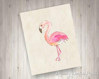 Printable Flamingo Print, Pink Flamingo Printable Art, 8x10 .JPG File, Instant Download!