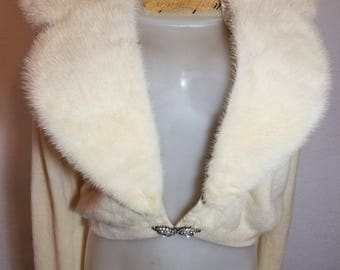 FREE  SHIPPING   Vintage  fur and Cashmere   Cardigan
