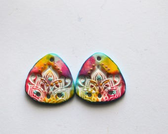 Lotus Triangles Polymer Clay Beads,Colorful Mandala Artisan Beads,Handmade,Art Beads,Rainbow Colors,26 mm Triangles  Beads,Lotus Bead