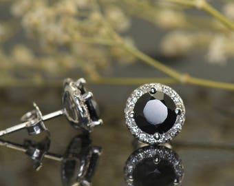 Black Onyx & Diamond Halo Earrings in 14k White Gold, 2.00ctw Black Onyx, 0.32ctw Diamonds, Friction Backs, Halo Earrings, Emily B