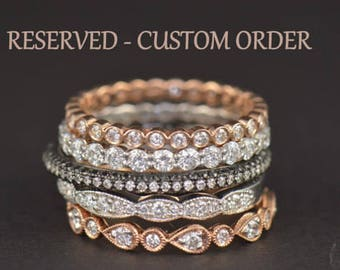 Custom Order for Amanda! FINAL Payment 4 of 4! Natalie Eternity Band + Custom Curved Diamond and Gemstone Wedding Band in 14k RG, Size 5