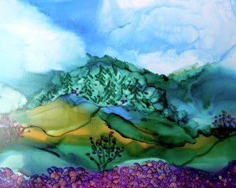 Ink Painting 5x7 alcohol ink art landscape design # 246