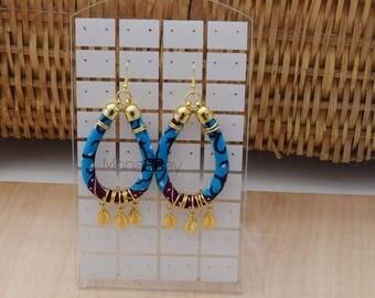 Blue african fabric earrings, pendientes africanos, ankara fabric earrings, boucles d'oreilles wax, boucles d'oreilles tissu, afro earrings