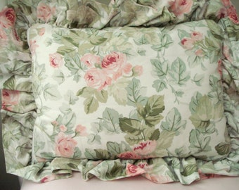 Vintage Laura Ashley Pillow Pink Rose Bed Pillow Boudoir Pillow Lumbar Pillow Throw Pillow Shabby Cottage Chic