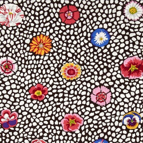 GUINEA FLOWER in WHITE with dark brown  Kaffe Fassett sold in 1/2 yard increments