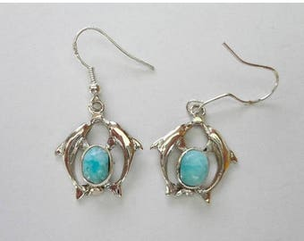 "ENDLESS SUMMER SALE Beautiful Aaa Robins Egg Blue Larimar ""Dolphin"" Earrings .925 Sterling Silver  Approx 1 1/2"""
