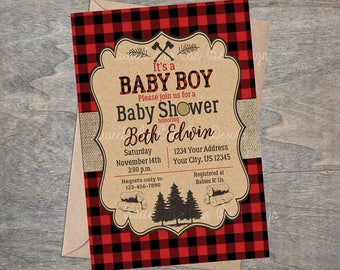 LumberJack Baby Shower Invitation | Burlap Buffalo Plaid Kraft Paper Wood Forest Lumber Jack Invite | Printable and Digital file
