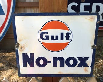 Vintage Original Gulf No-Nox Porcelain Pump Plate Advertising Sign - TC4