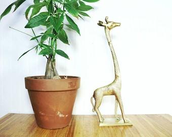 Large Brass Giraffe, Vintage Giraffe Figurine, Nature Inspired, Statue, Sculpture, Brass Animals, Giraffe Decor, Gifts, Animal Home Decor