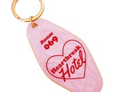 Heart break hotel enamel motel key chain