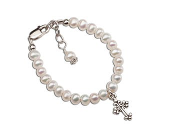 """Sterling Silver Bracelet with Freshwater Pearls and Cross for Girls from our """"Timeless Collection"""" (TC-Lillian)"""