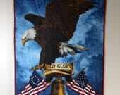 Patriotic Wall Hanging, Old Glory Eagle Quilt, Quilted Patriotic Decor, Veteran Gift, Patriotic Quilt, Military Gift, Quiltsy Handmade
