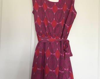 pink printed dress w/ keyhole back