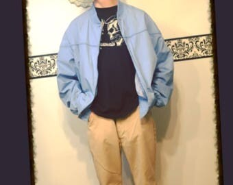 1980's Sky Blue Members Only Style Hipster Jacket by Par Four, Size Large, Vintage Grunge Cobain Coat, Vintage 80's  Windbreaker Jacket