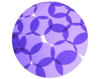 Round Vinyl Shape No Hole 50mm Purple Go Go Transparent
