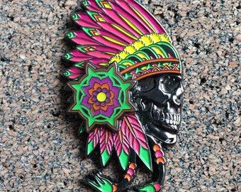 Tribal Skull Red Headdress Native American Hat Pin