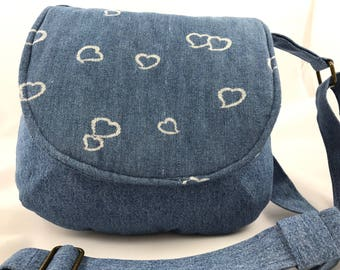 Repurposed cotton denim-shoulder bag-medium sized purse-UpCycled jumper and skirt-repurposed-eco-friendly-washable-cotton saddle bag-hearts