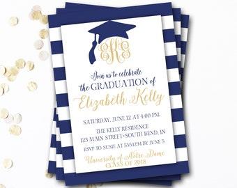 Monogram Graduation Invitation, Navy Graduation Invitation, Navy and Gold Graduation, Class of 2017, Monogram Invitation, DIY Printable